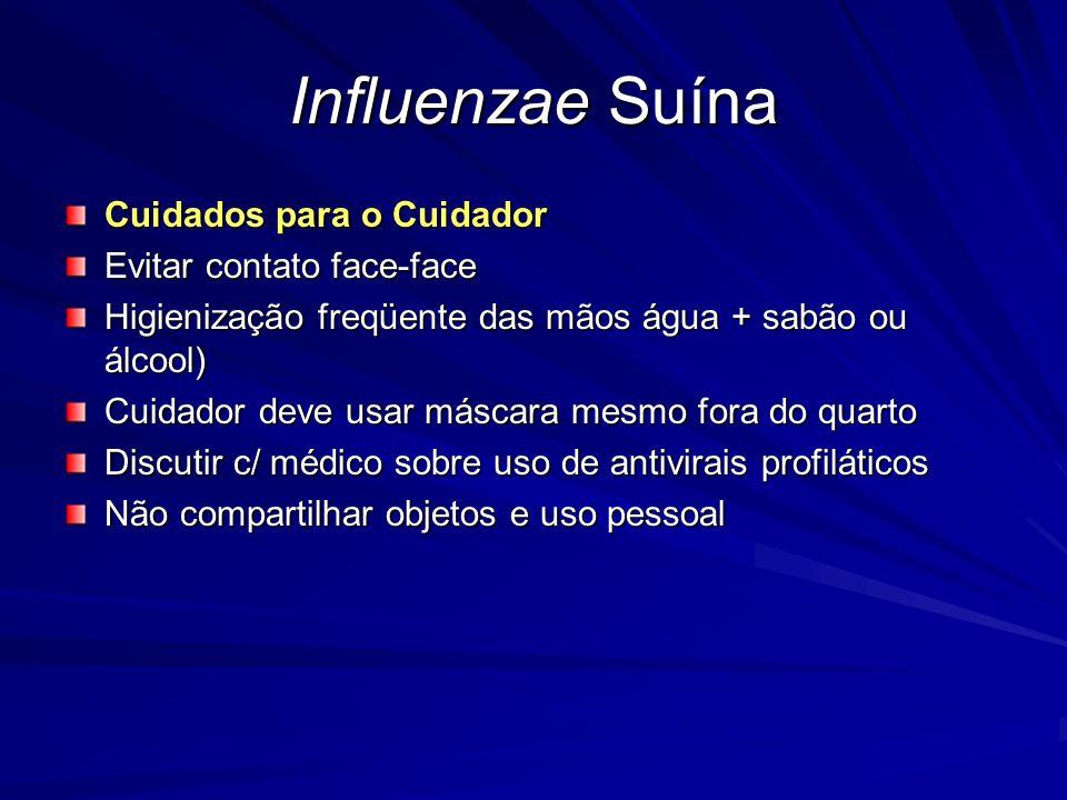 Influenzae Suína Cuidados para o Cuidador Evitar contato face-face