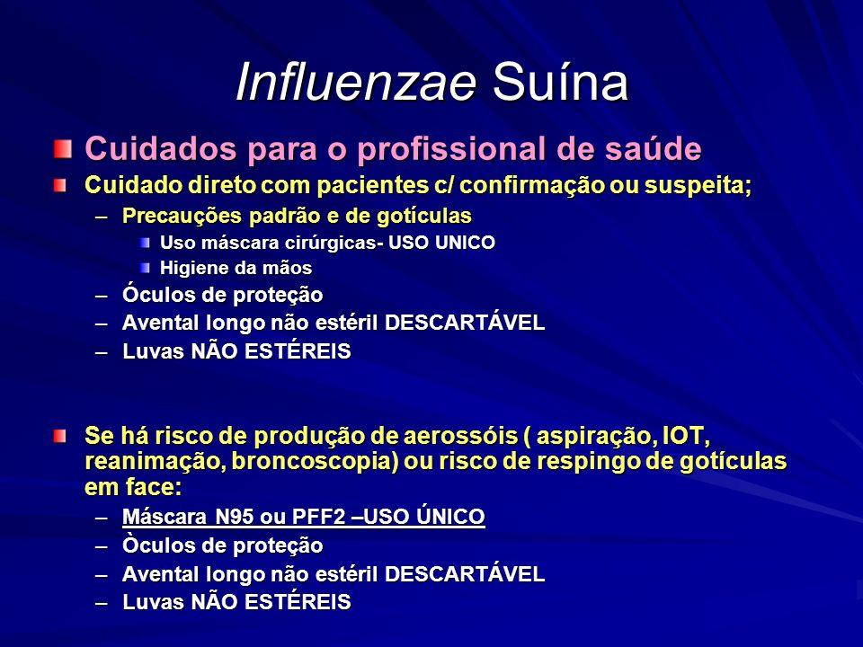 Influenzae Suína Cuidados para o profissional de saúde