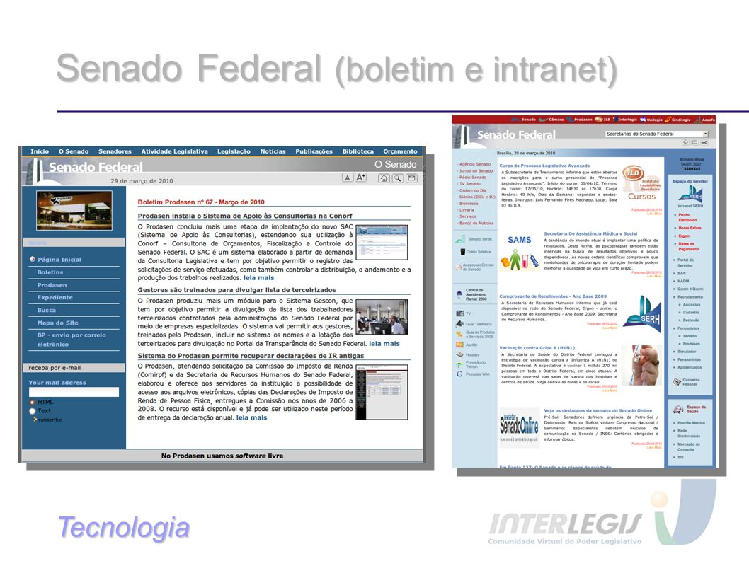 Senado Federal (boletim e intranet)‏