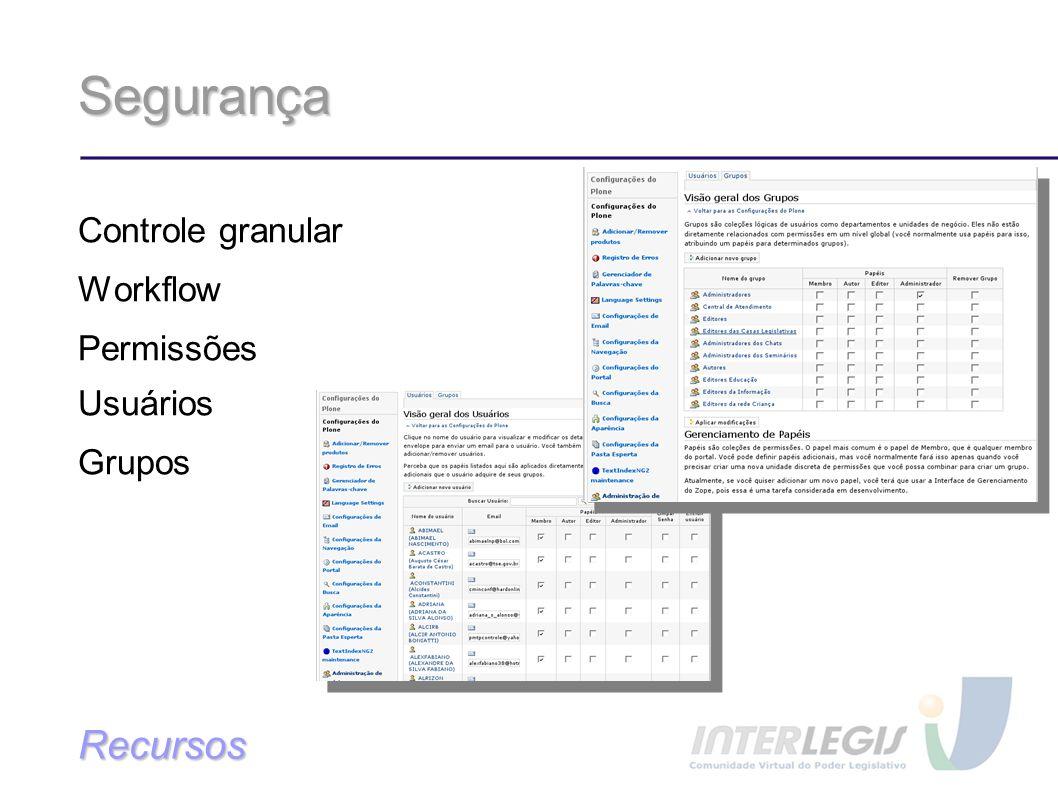Segurança Recursos Controle granular Workflow Permissões Usuários
