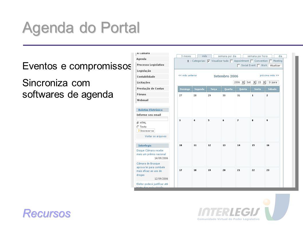 Agenda do Portal Recursos Eventos e compromissos