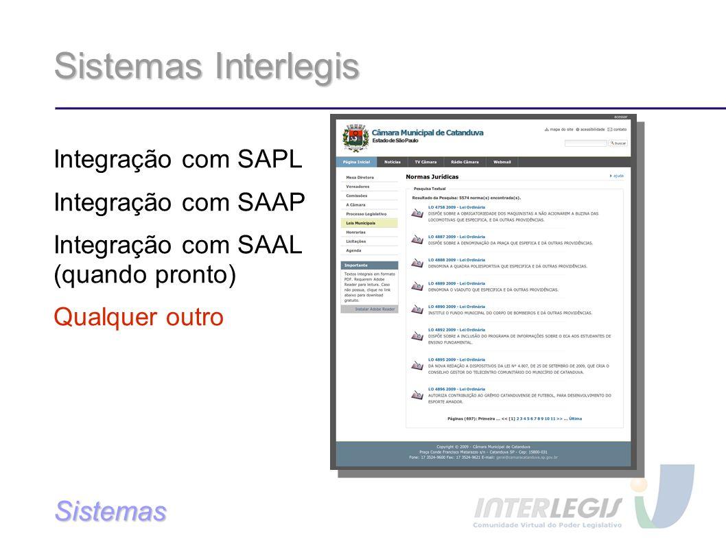 Sistemas Interlegis Sistemas Integração com SAPL Integração com SAAP