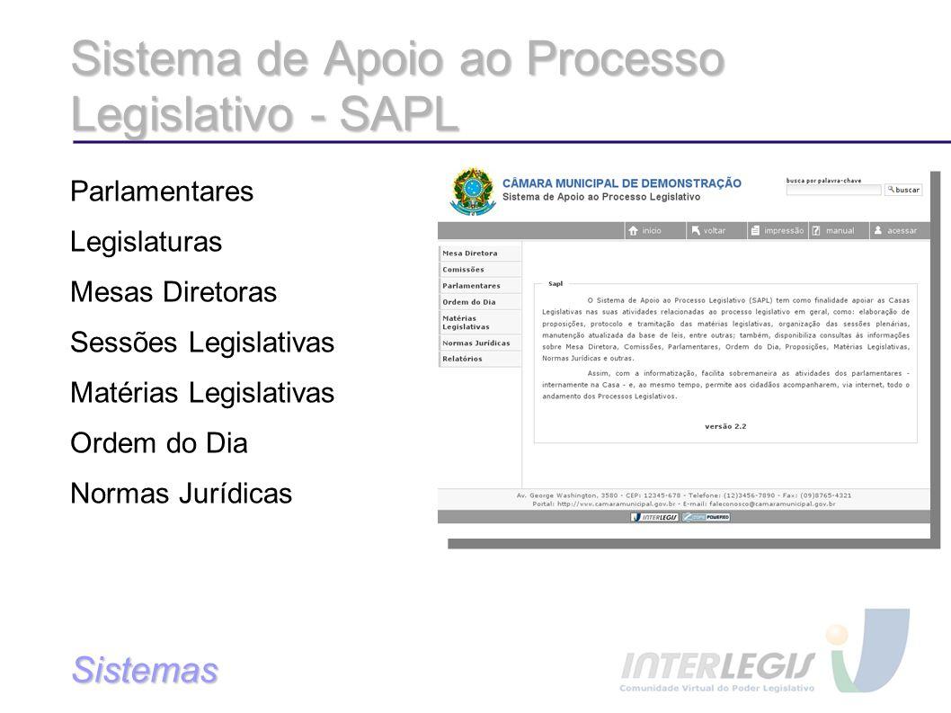 Sistema de Apoio ao Processo Legislativo - SAPL