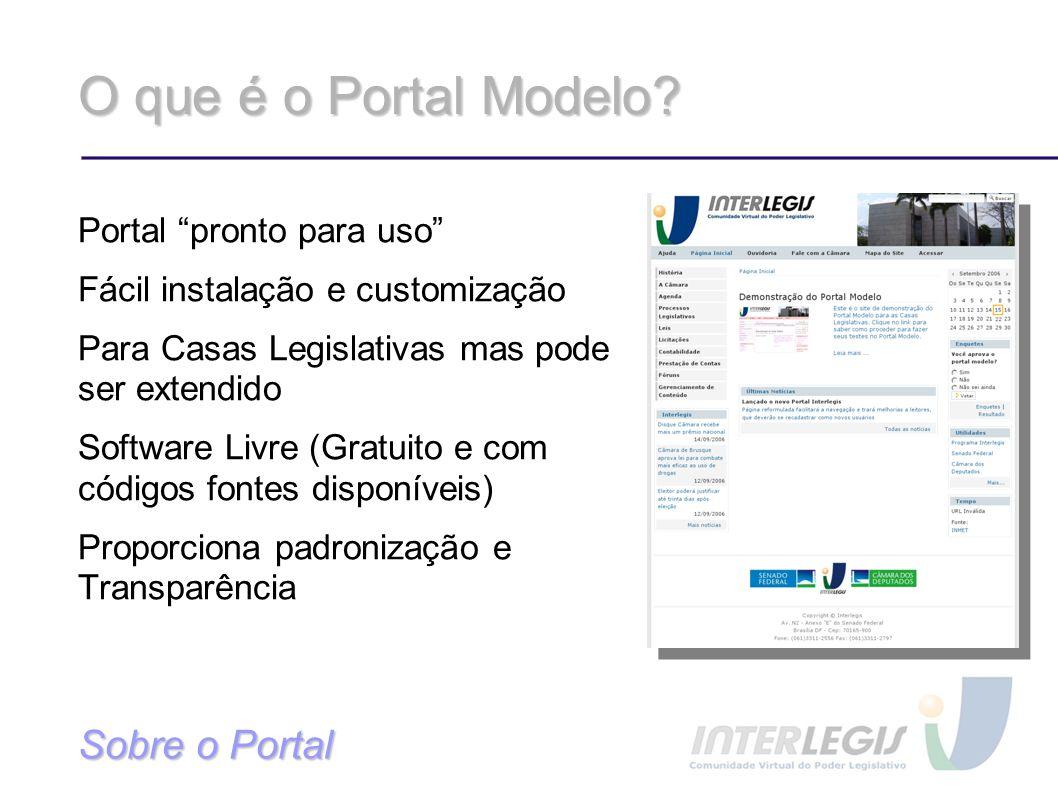 O que é o Portal Modelo Sobre o Portal Portal pronto para uso