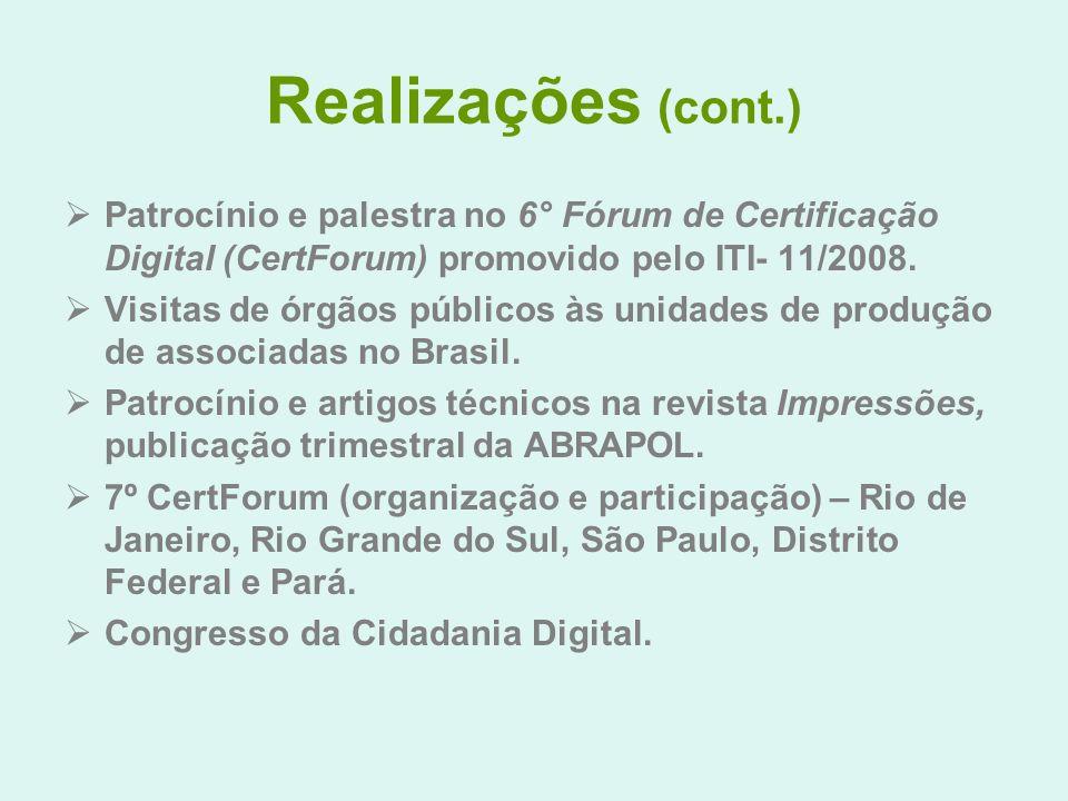 Realizações (cont.) Patrocínio e palestra no 6° Fórum de Certificação Digital (CertForum) promovido pelo ITI- 11/2008.