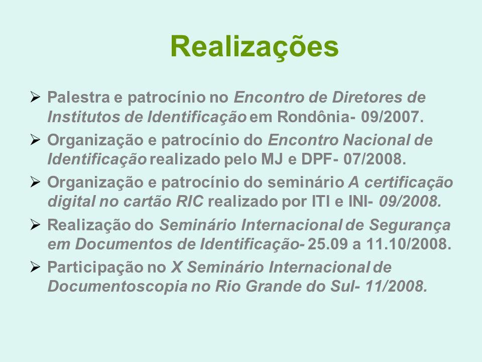 Realizações Palestra e patrocínio no Encontro de Diretores de Institutos de Identificação em Rondônia- 09/2007.
