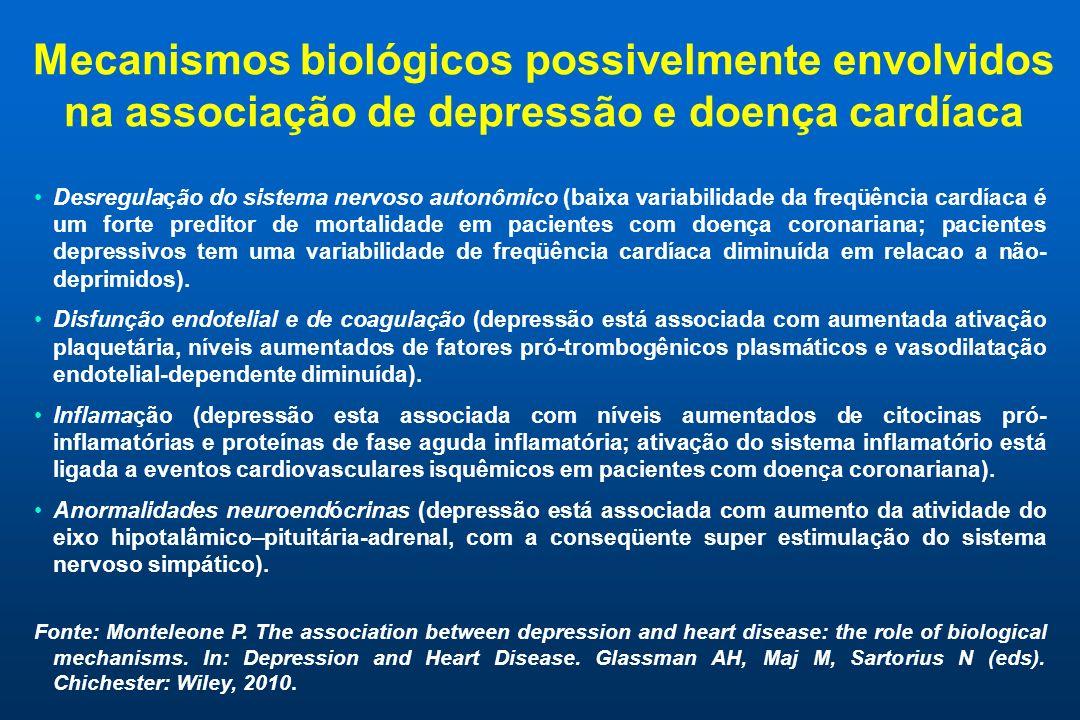 Mecanismos biológicos possivelmente envolvidos na associação de depressão e doença cardíaca