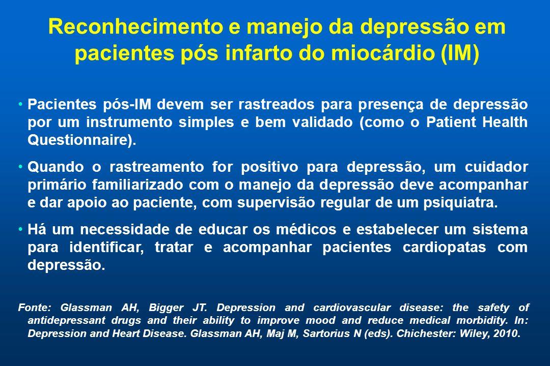 Reconhecimento e manejo da depressão em pacientes pós infarto do miocárdio (IM)