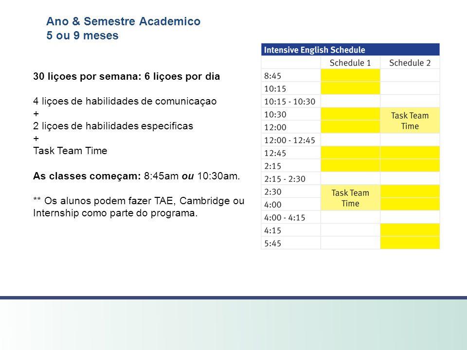 Ano & Semestre Academico 5 ou 9 meses