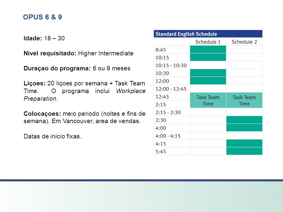 OPUS 6 & 9 Idade: 18 – 30 Nivel requisitado: Higher Intermediate