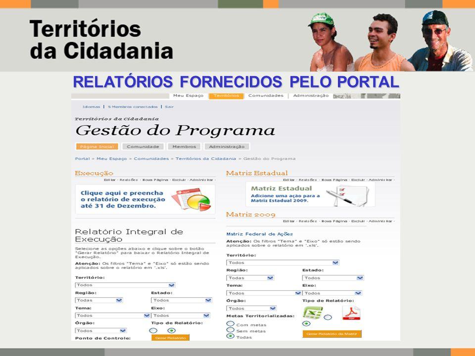 RELATÓRIOS FORNECIDOS PELO PORTAL