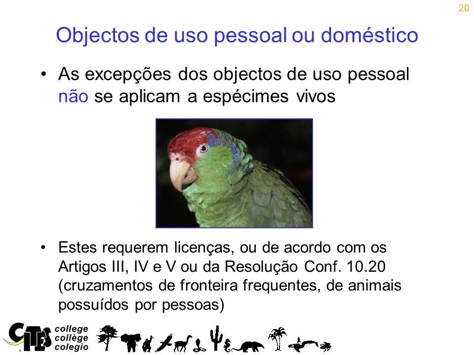 Objectos de uso pessoal ou doméstico