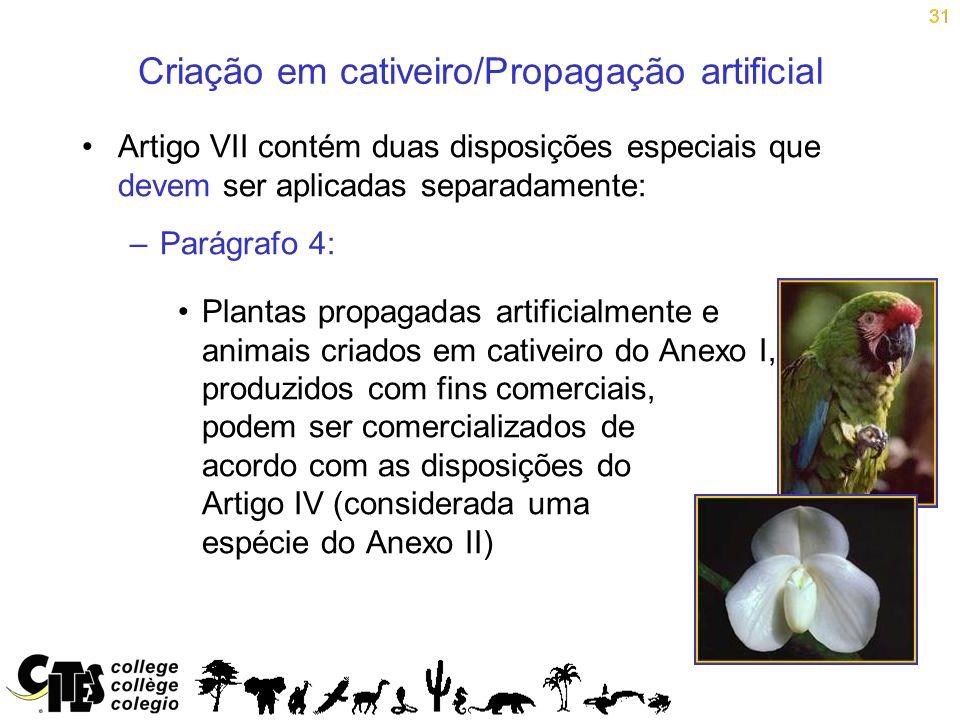 Criação em cativeiro/Propagação artificial