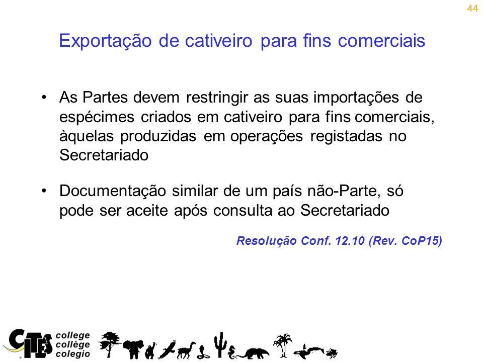 Exportação de cativeiro para fins comerciais
