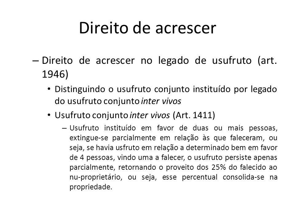 Direito de acrescer Direito de acrescer no legado de usufruto (art. 1946)