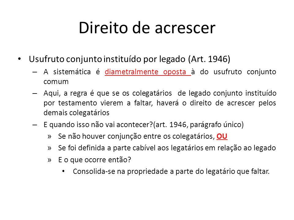 Direito de acrescer Usufruto conjunto instituído por legado (Art. 1946) A sistemática é diametralmente oposta à do usufruto conjunto comum.