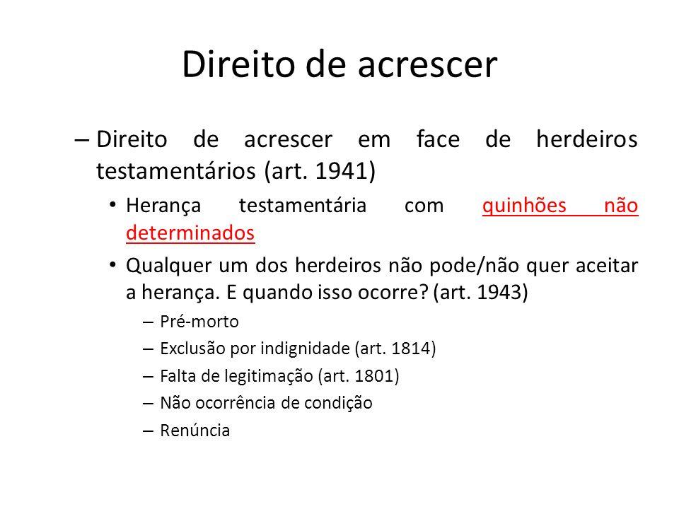 Direito de acrescer Direito de acrescer em face de herdeiros testamentários (art. 1941) Herança testamentária com quinhões não determinados.