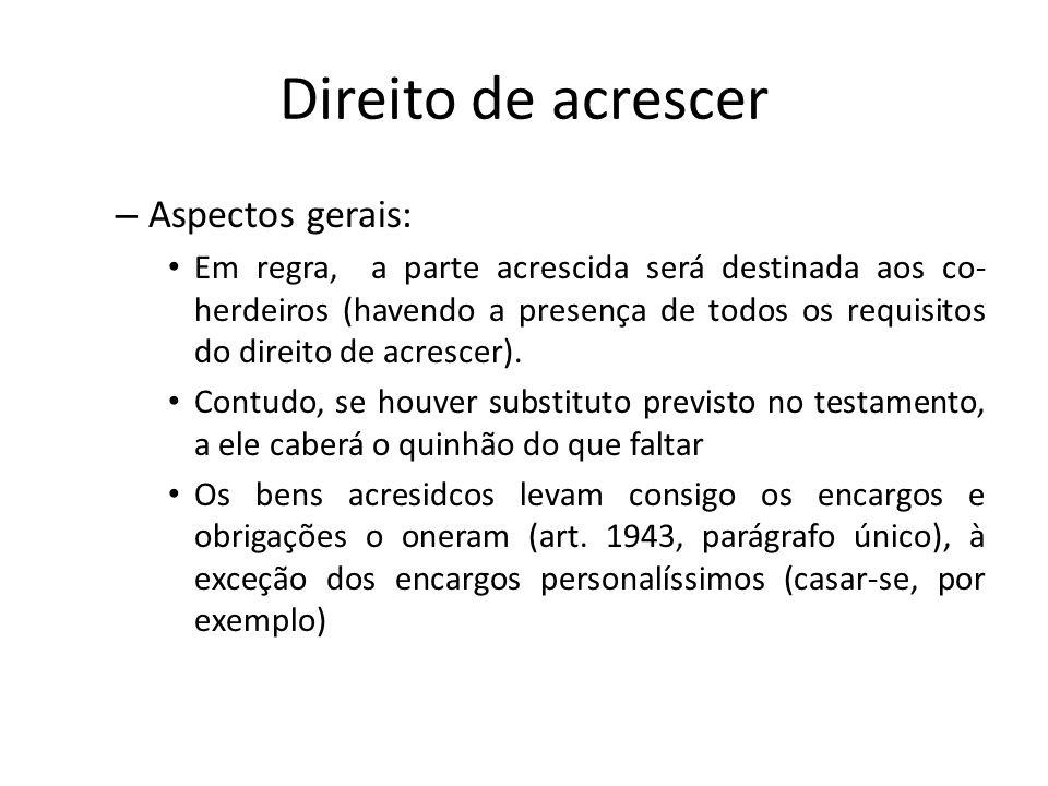Direito de acrescer Aspectos gerais: