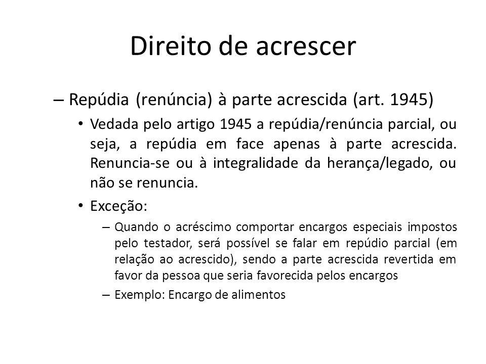 Direito de acrescer Repúdia (renúncia) à parte acrescida (art. 1945)