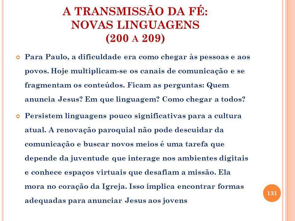 A TRANSMISSÃO DA FÉ: NOVAS LINGUAGENS (200 a 209)