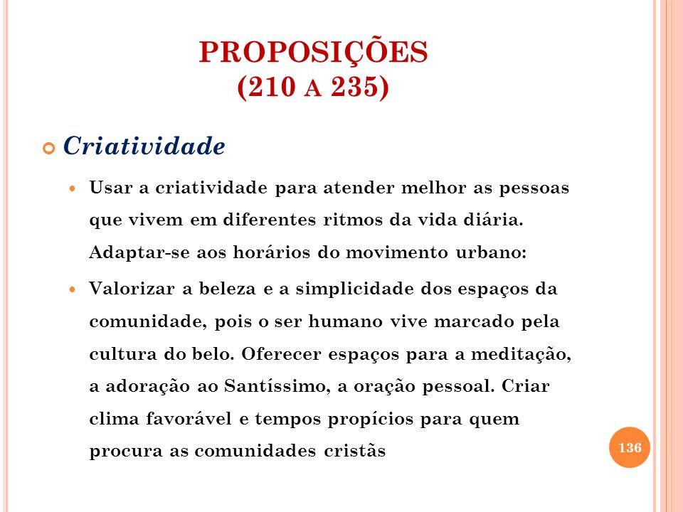 PROPOSIÇÕES (210 a 235) Criatividade