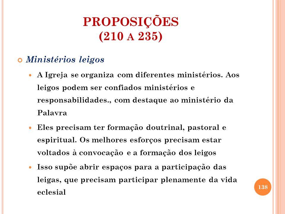 PROPOSIÇÕES (210 a 235) Ministérios leigos