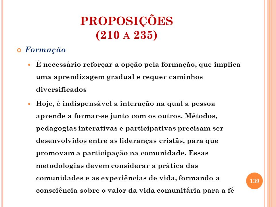 PROPOSIÇÕES (210 a 235) Formação