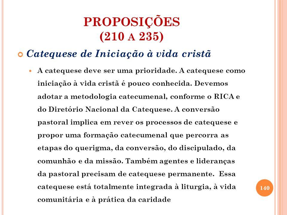 PROPOSIÇÕES (210 a 235) Catequese de Iniciação à vida cristã