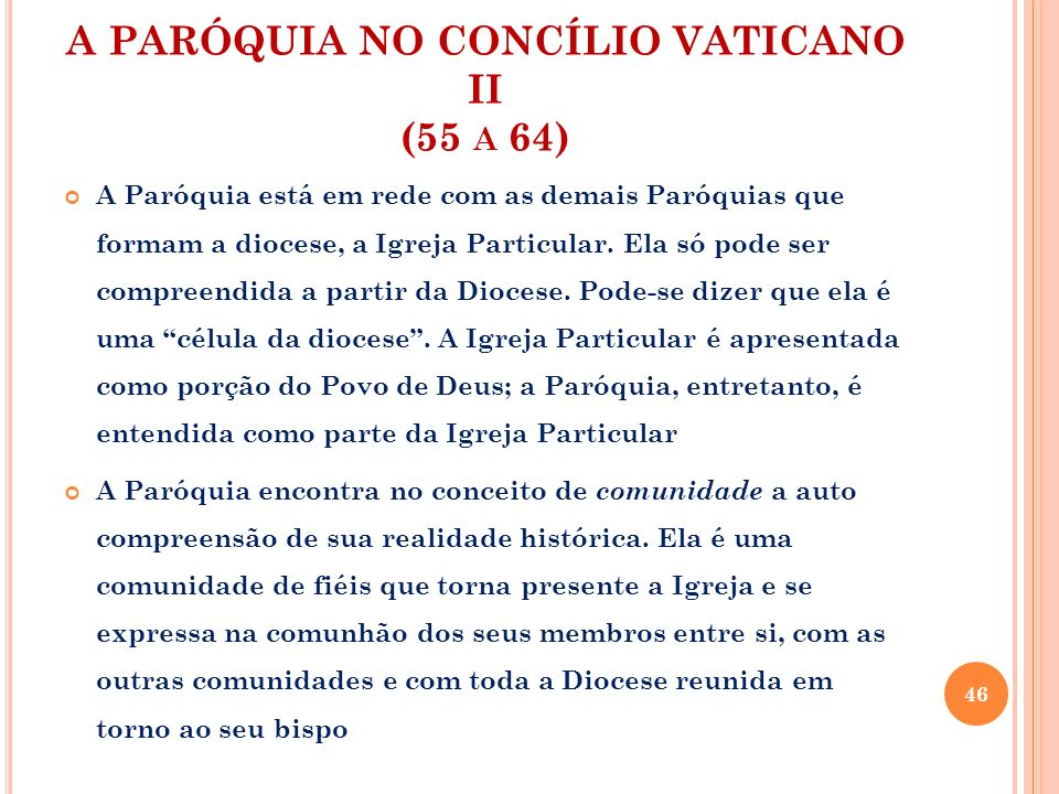 A PARÓQUIA NO CONCÍLIO VATICANO II (55 a 64)