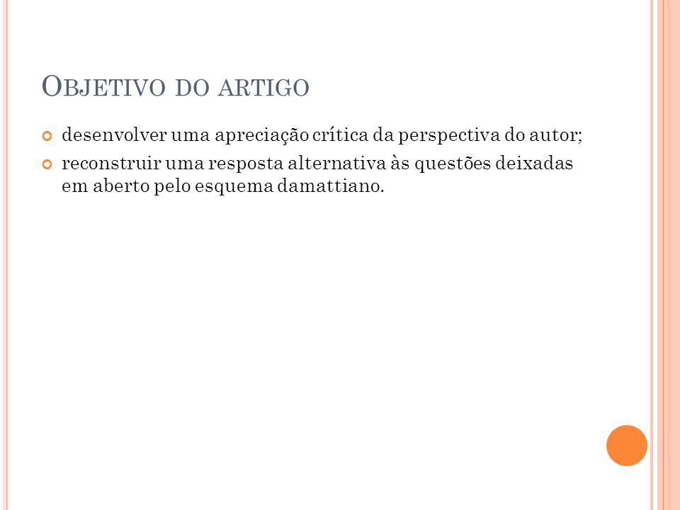 Objetivo do artigo desenvolver uma apreciação crítica da perspectiva do autor;