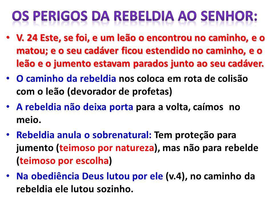OS PERIGOS DA REBELDIA AO SENHOR: