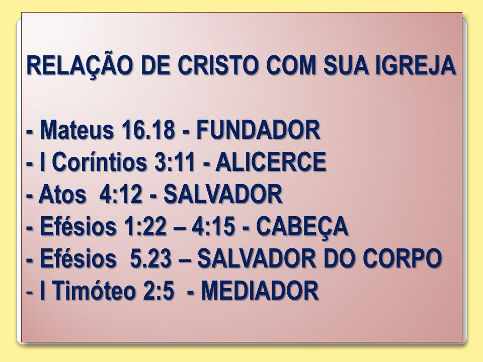 RELAÇÃO DE CRISTO COM SUA IGREJA