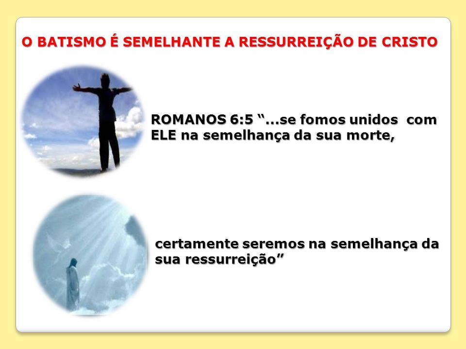 O BATISMO É SEMELHANTE A RESSURREIÇÃO DE CRISTO
