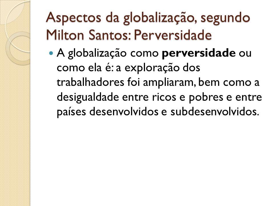 Aspectos da globalização, segundo Milton Santos: Perversidade