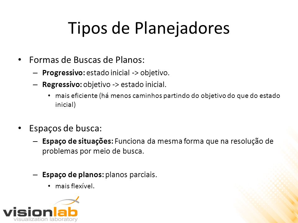 Tipos de Planejadores Formas de Buscas de Planos: Espaços de busca: