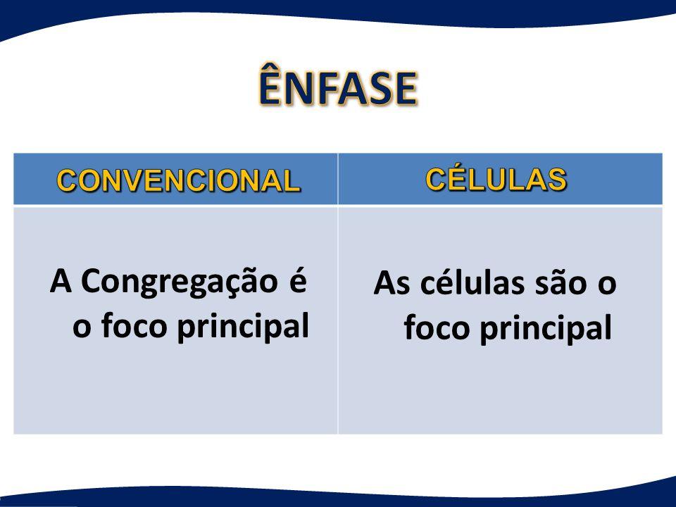 A Congregação é o foco principal As células são o foco principal