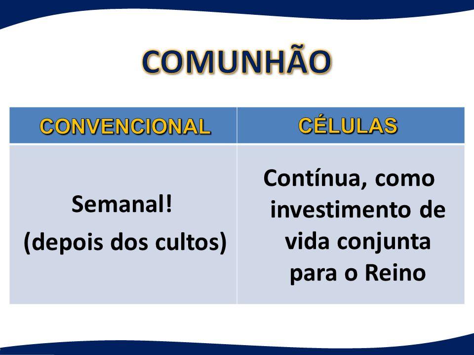 COMUNHÃO Contínua, como investimento de vida conjunta para o Reino