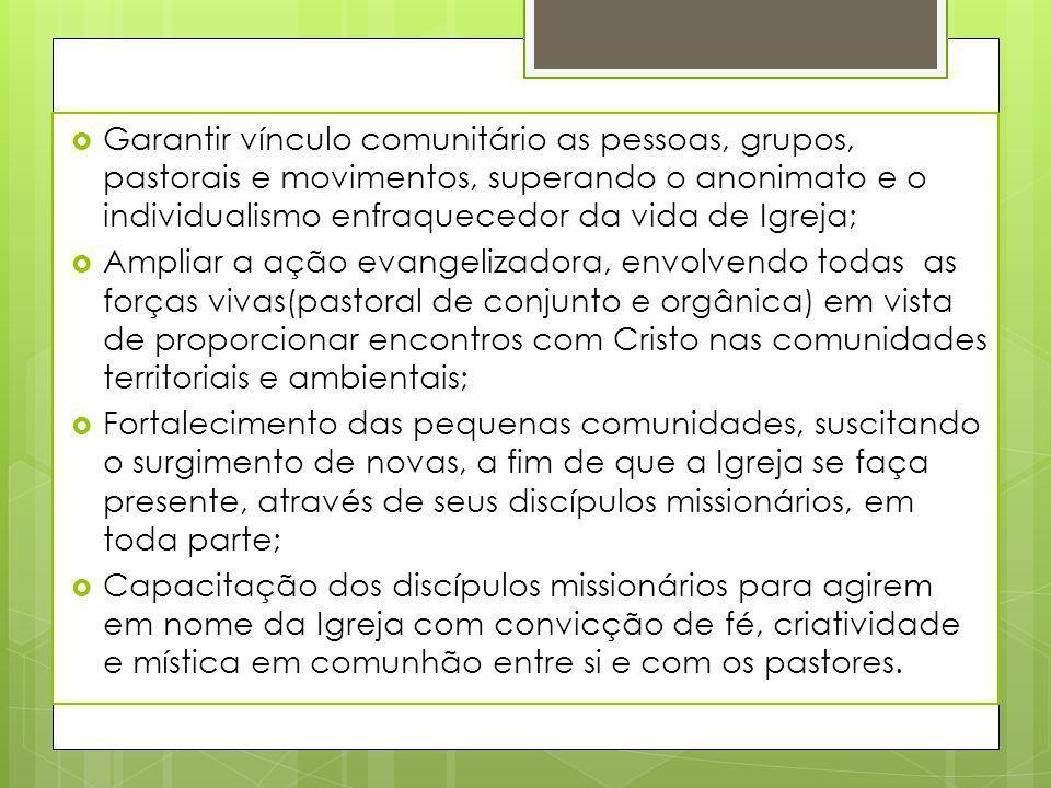 Garantir vínculo comunitário as pessoas, grupos, pastorais e movimentos, superando o anonimato e o individualismo enfraquecedor da vida de Igreja;