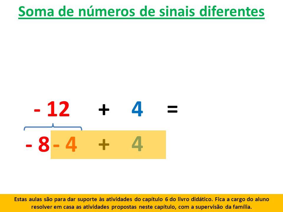 Soma de números de sinais diferentes