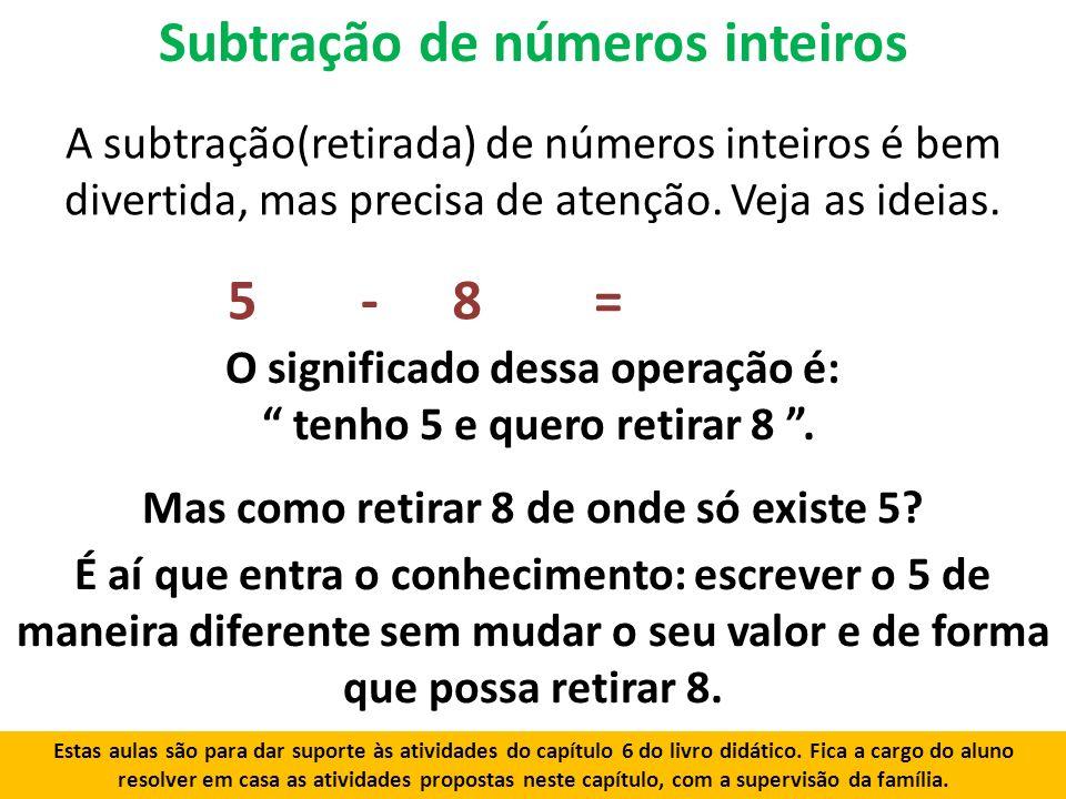 Subtração de números inteiros
