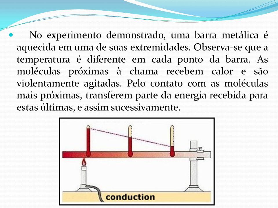 No experimento demonstrado, uma barra metálica é aquecida em uma de suas extremidades.
