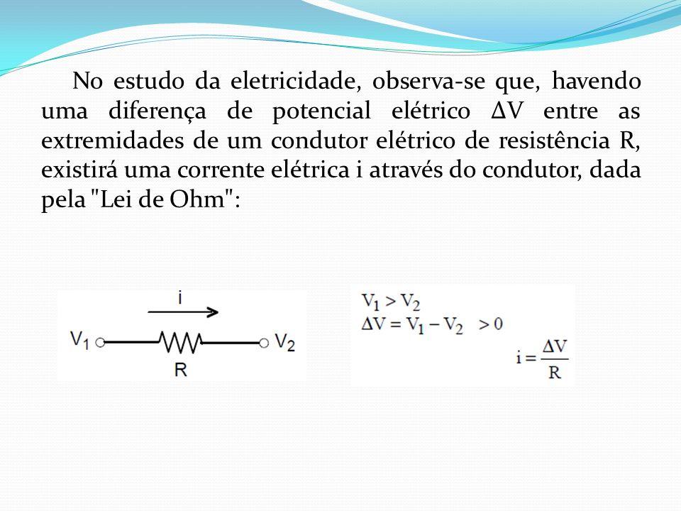 No estudo da eletricidade, observa-se que, havendo uma diferença de potencial elétrico ∆V entre as extremidades de um condutor elétrico de resistência R, existirá uma corrente elétrica i através do condutor, dada pela Lei de Ohm :