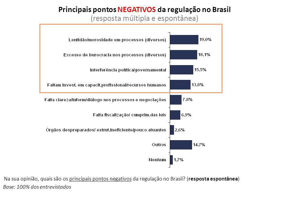 Principais pontos NEGATIVOS da regulação no Brasil (resposta múltipla e espontânea)