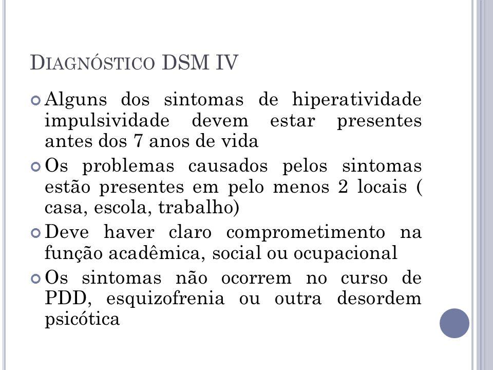 Diagnóstico DSM IV Alguns dos sintomas de hiperatividade impulsividade devem estar presentes antes dos 7 anos de vida.