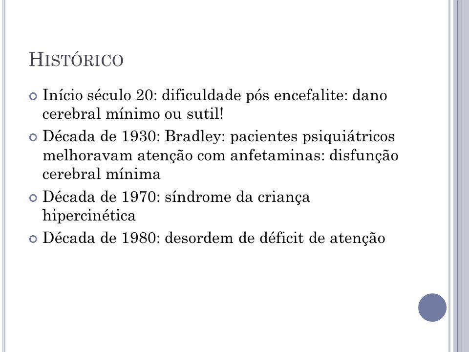 Histórico Início século 20: dificuldade pós encefalite: dano cerebral mínimo ou sutil!