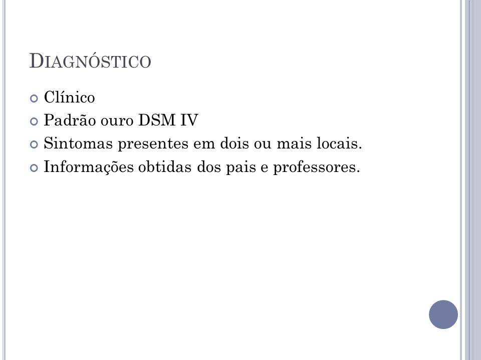 Diagnóstico Clínico Padrão ouro DSM IV