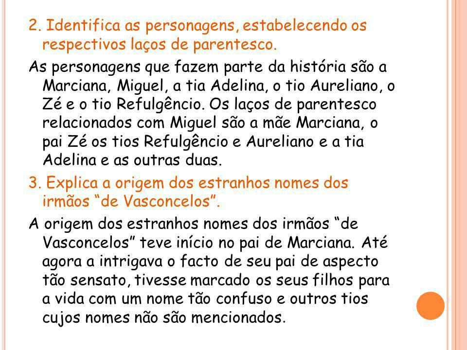 2. Identifica as personagens, estabelecendo os respectivos laços de parentesco.