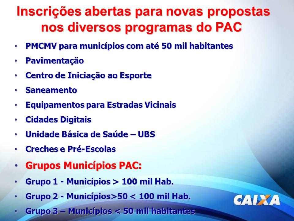 Inscrições abertas para novas propostas nos diversos programas do PAC