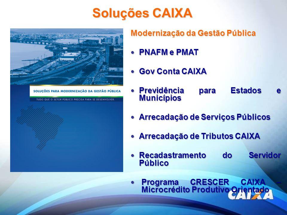 Soluções CAIXA Modernização da Gestão Pública PNAFM e PMAT