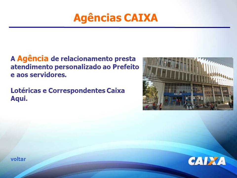 Agências CAIXA A Agência de relacionamento presta atendimento personalizado ao Prefeito e aos servidores.